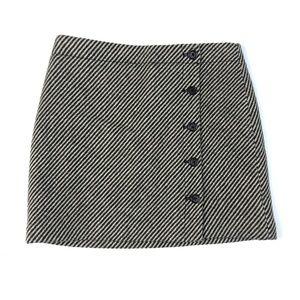 J.CREW Brown Cream Striped Tweed Wool Button Skirt